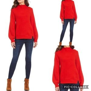Gibson & Latimer Funnel Neck Puff Sleeve Sweater